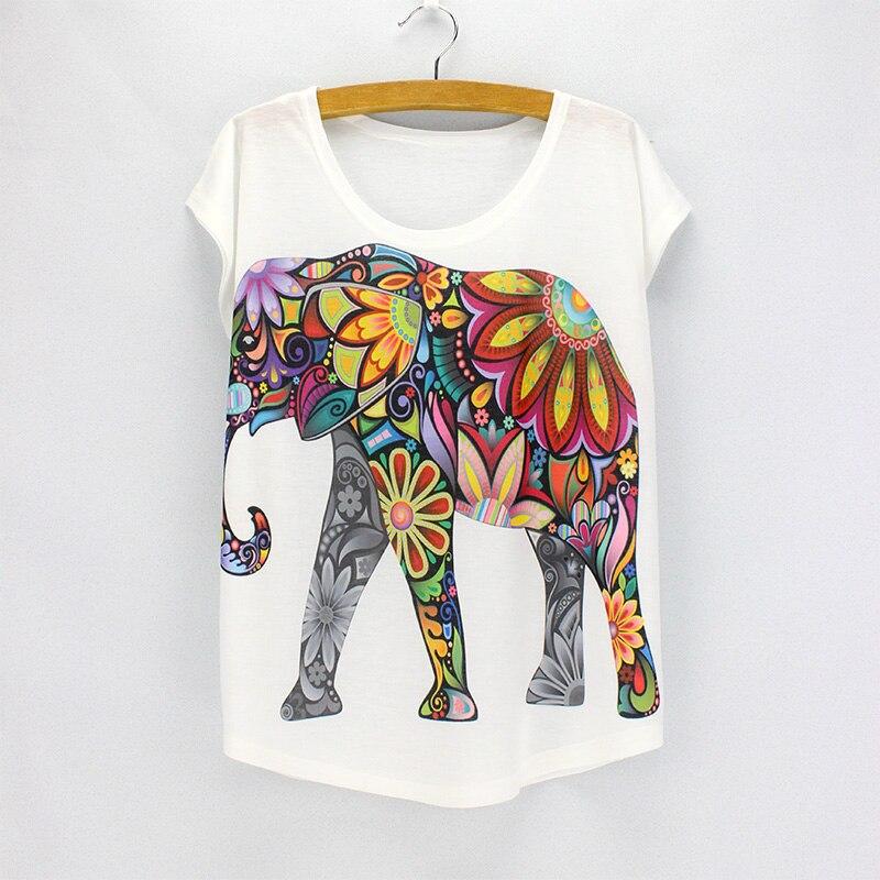 New fashion flower elephant printed t shirts women summer for Elephant t shirt women s