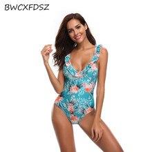 купить BWCXFDSZ New One Piece Swimsuit Women Swimwear Triquini Swimming Suit 2018 Print Backless Trikini Bodysuit Monokini Bather Wear по цене 1283.08 рублей