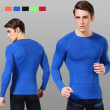 Fitness garments males spring and autumn quick-sleeved long-sleeved tights physique breathable  health garments