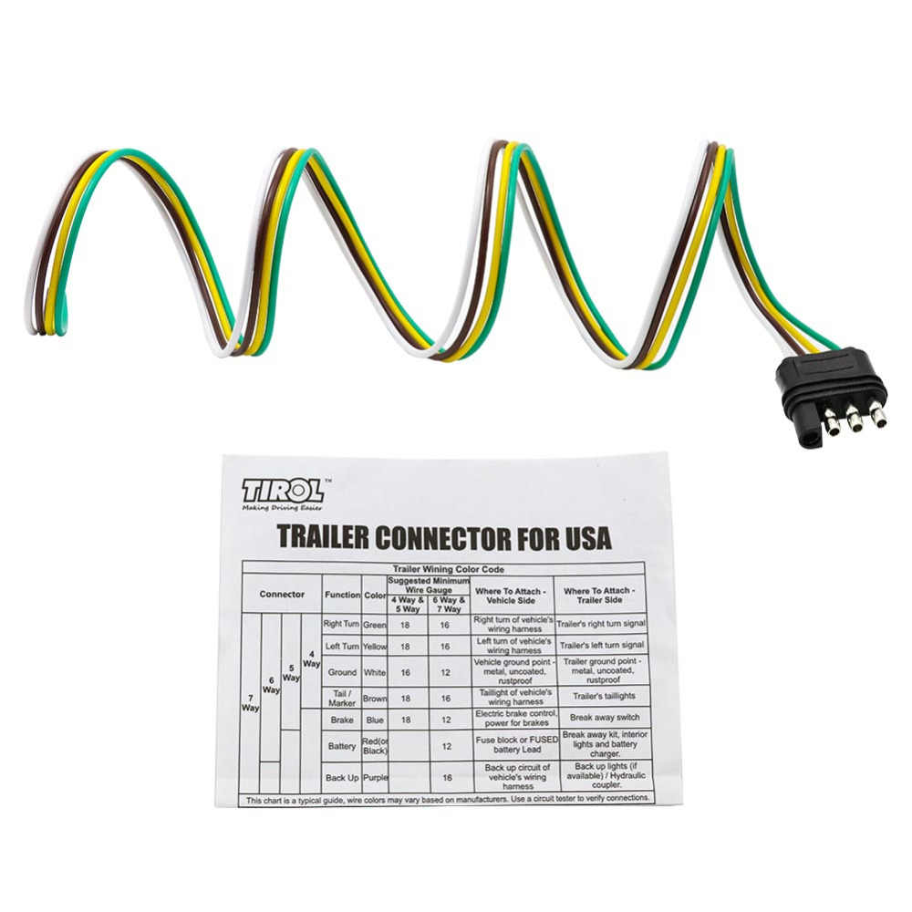 TIROL 4-Way Flat Trailer Wire Harness Extension Connector Plug with on