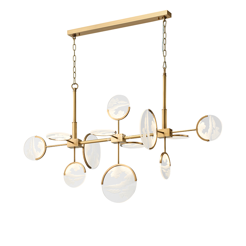 Nordic Post Modern New arrival Simple Living room Real brass Pendant lights Creative 12 heads Acrylic Disc Combo LED Droplight