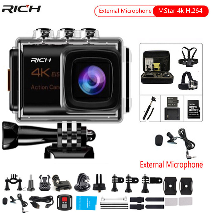 Action camera HD 4k 30fps Remote control Wifi 170 degree wide angle Compatible external microphone waterproof