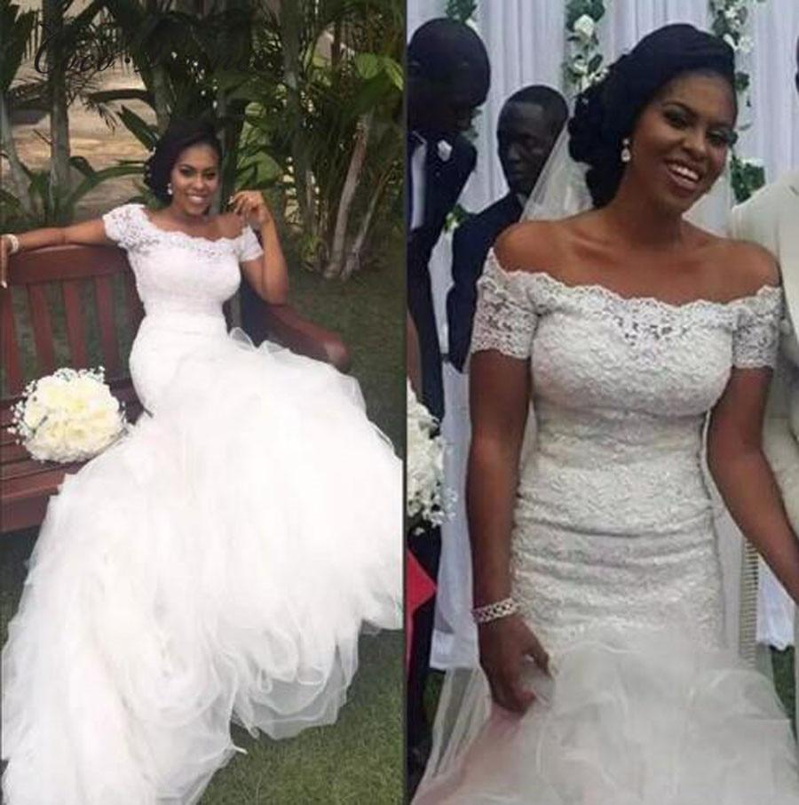 Nigerian Wedding Dresses: Vintage Lace Appliues Mermaid Wedding Dresses 2019 African