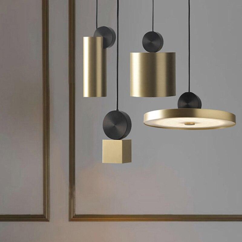 Nordic Simple LED Pendant Lights Stainless Steel Creative Lighting Fixture Geometric Combined Pendant Lamp AC220V Droplight