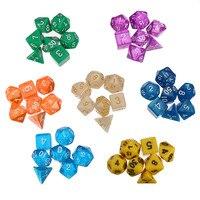 49 adet Çok taraflı 7 Renkler (3x Saydam Zar + 4x Opak Zar) parti Masa Oyunları ile Çokyüzlü Dijital Akrilik Zar 7 Torba
