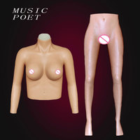 Realistic crossdress silicone breast forms false vagina CD transvestites silicone tight dress costume props fake vagina suit