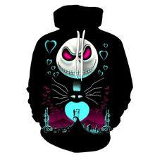 цена на Jack skellington 3D Hoodies The Nightmare Before Christmas Skulls Veste Pullover Sweatshirts Men Women Halloween Cosplay Costume