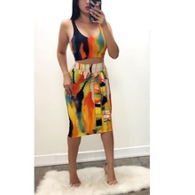 2019 New Sexy Tie Dye Two Piece Set Sleeveless Women Straps Crop Top And Mid Skirt 2 Suit Summer Clothes Bodycon Outfits