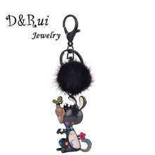 Cute Dog And Butterfly Keychain On Keys Fur Ball Pompon Animal Key Chain Ring For Women Accessories Kids Keyring Chains Jewelry недорого