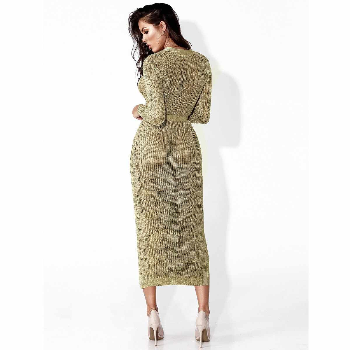 f88cadc24baa ... Women Sexy Club Rose Gold Knitted Sweater Dress Autumn Winter Long  Sleeve V-Neck Cardigan ...