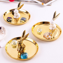 Creative Nordic Ceramic Crafts Plate Candy Photography Jewelry Tray Ring Bracelet Holder Rabbit  Decorative