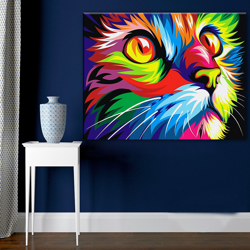 Large size Print Oil Painting Wall painting pop CAT Animal Home Decorative Wall Art Picture For Living Room painting NO Frame
