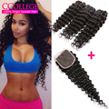 2016 Maxglam Hair Brazilian Deep Curly With Closure 4 Bundle Brazilian Hair Weave Bundles Deep Wave Lace Closure With Bundles