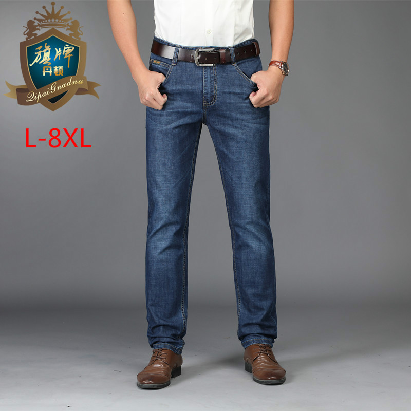 Brand European American Style Stretch Men   Jeans   Luxury Men's Denim Trousers Slim Straight Deep Blue Gentleman Mens Stretch 6XL