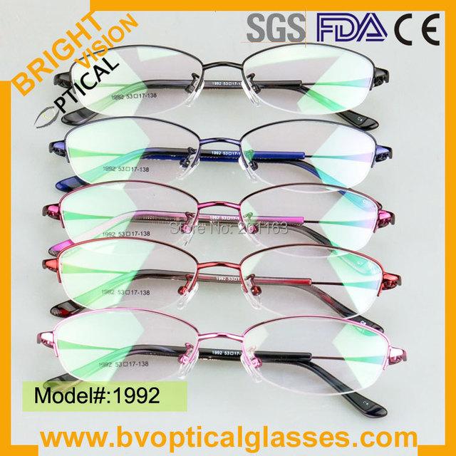 1992 nova colorido metade aro mulheres óculos de metal miopia armações de óculos RX