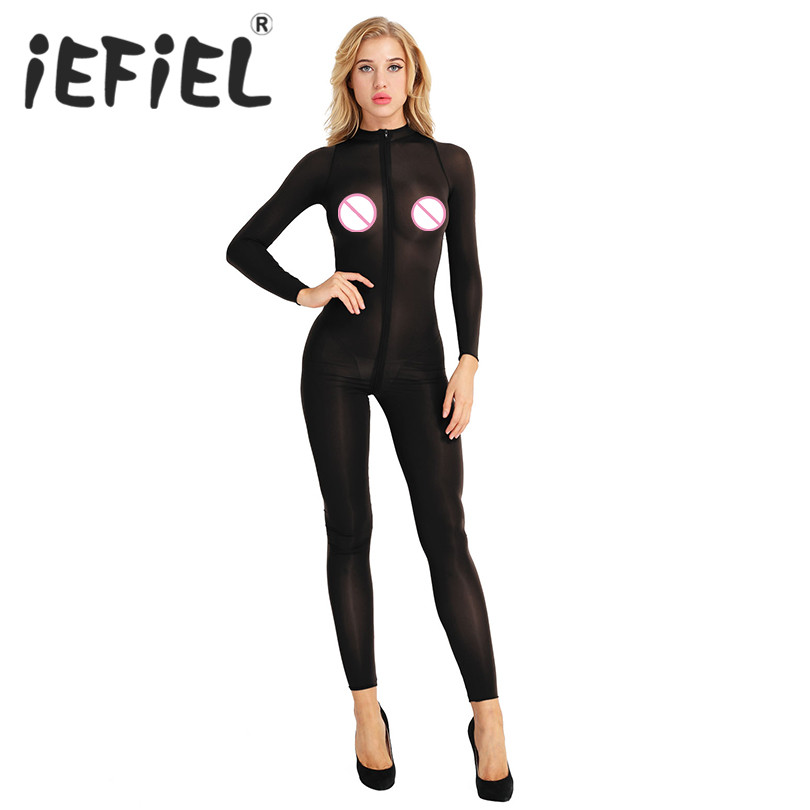 Newest Sexy Women Female Lingerie Long Sleeves Double Zipper Sheer Smooth Open Crotch Bodysuit Jumpsuit Erotic Teddies Nightwear