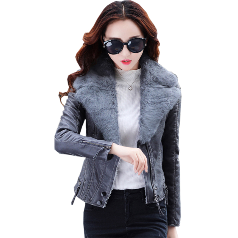 2017 Winter Faux   Leather   Jacket Women Slim Short Large Fur Collar Pu   Leather   Jacket Female Casual Motorcycle Biker Coat FP0165