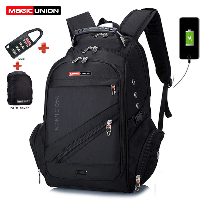 MAGIC UNION Laptop Bag External USB Charge Computer Backpacks Anti theft Men Waterproof Bags Boy School