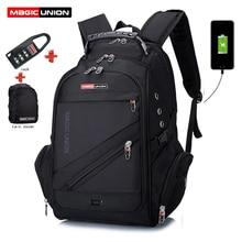 매직 유니온 노트북 가방 외부 USB 충전 컴퓨터 배낭 도난 방지 남자 방수 가방 소년 학교 배낭 학교 가방