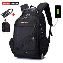 マジックユニオンラップトップバッグ外部 usb 充電コンピュータバックパック盗難防止男性防水バッグ少年スクールバックパックスクールバッグ