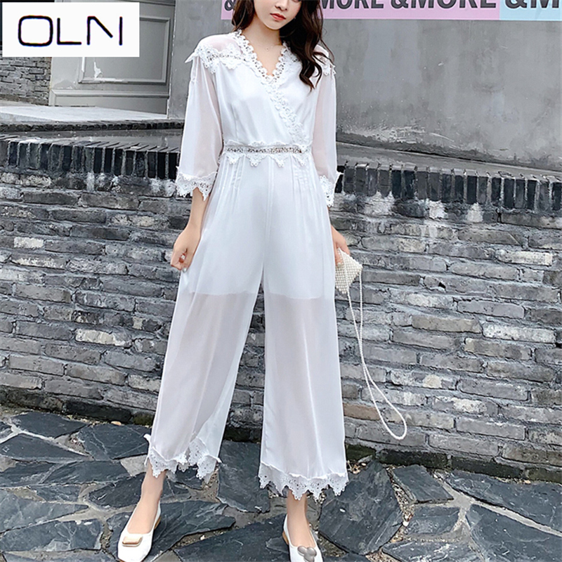 Jumpsuit Summer New Korean Casual White Lace High Waist Super Fairy Nine Points Wide Leg Thin Section Newarrival