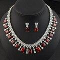 Blanco/verde/azul/rojo de la boda joyería nupcial conjunto para las mujeres, de alta calidad AAA Cubic Zirconia collar aretes de novia de la boda