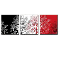 POP Modern mural No Frame black and wihte red trees Oil Paintings on Canvas 3 pcs home Decoration Wall Art Paints for room