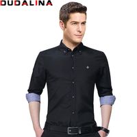 Dudalina New Design 2017 Spring Button Collar Long Sleeve Casual Shirts Oxford Breathable Slim Fit Male