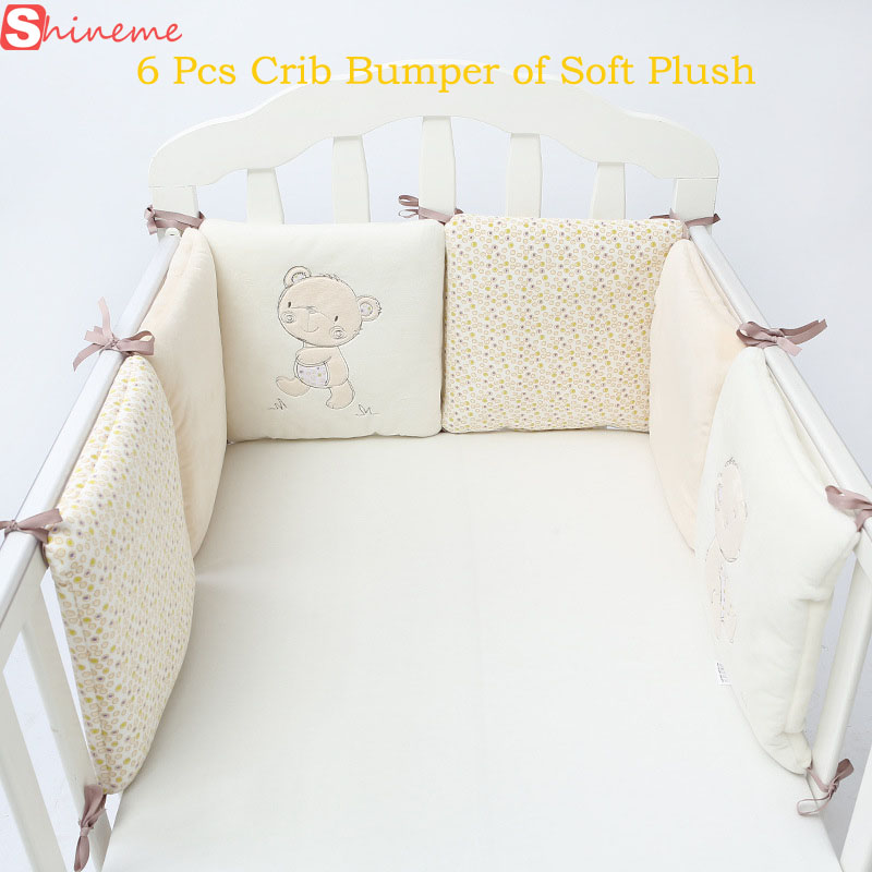 6Pc Popular Crib Bumper Protective Baby Nursery Bedding Comfy Infant Cot Pad Set
