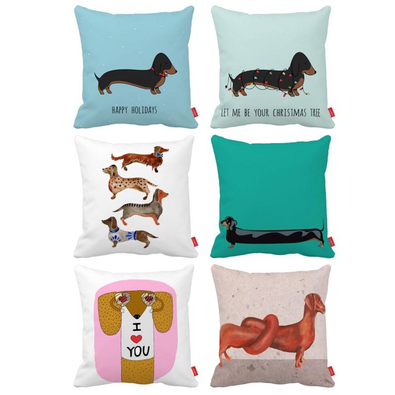 Cute Funny Cartoon Dachshund Dog Print Car Decorative Throw Pillowcase Pillow Case Cushion Cover Sofa Home