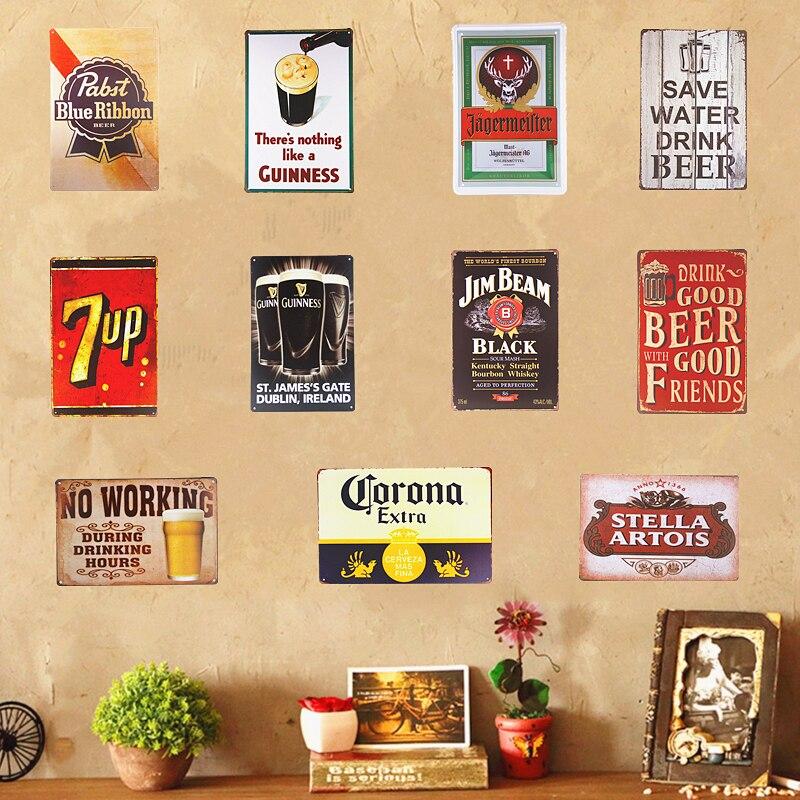 Metal Vintage Tin Placa Pub Decoración Bar Taberna Sign Pared Cartel Tienda Retro Casa