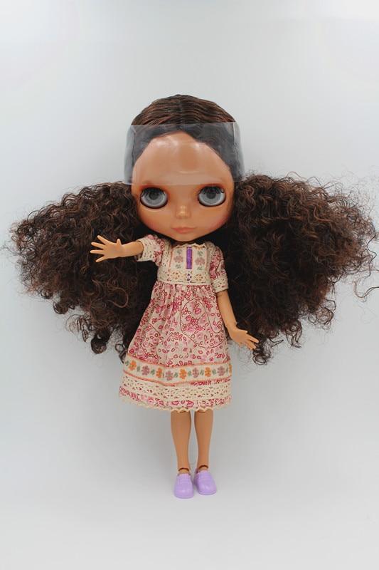 Blygirl Doll Brown cheveux ondulés Blyth corps articulé Doll Fashion peut changer le maquillage La main peut être tournée