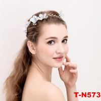 White Pure Flower Pearl Caystal Gold Bridal Headbands Wedding Hair Vines Band Headpieces