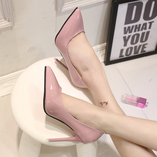 Sexy Women's Fashion High Heels 2016 Fashion Patent Leather Shoes Women Pointed Toe OL Slip On Ladies Pumps