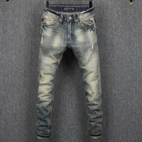 Vintage Style Ripped Jeans Men 29 38 No 5 High Grade Cotton Waterwashed Slim Fit Men