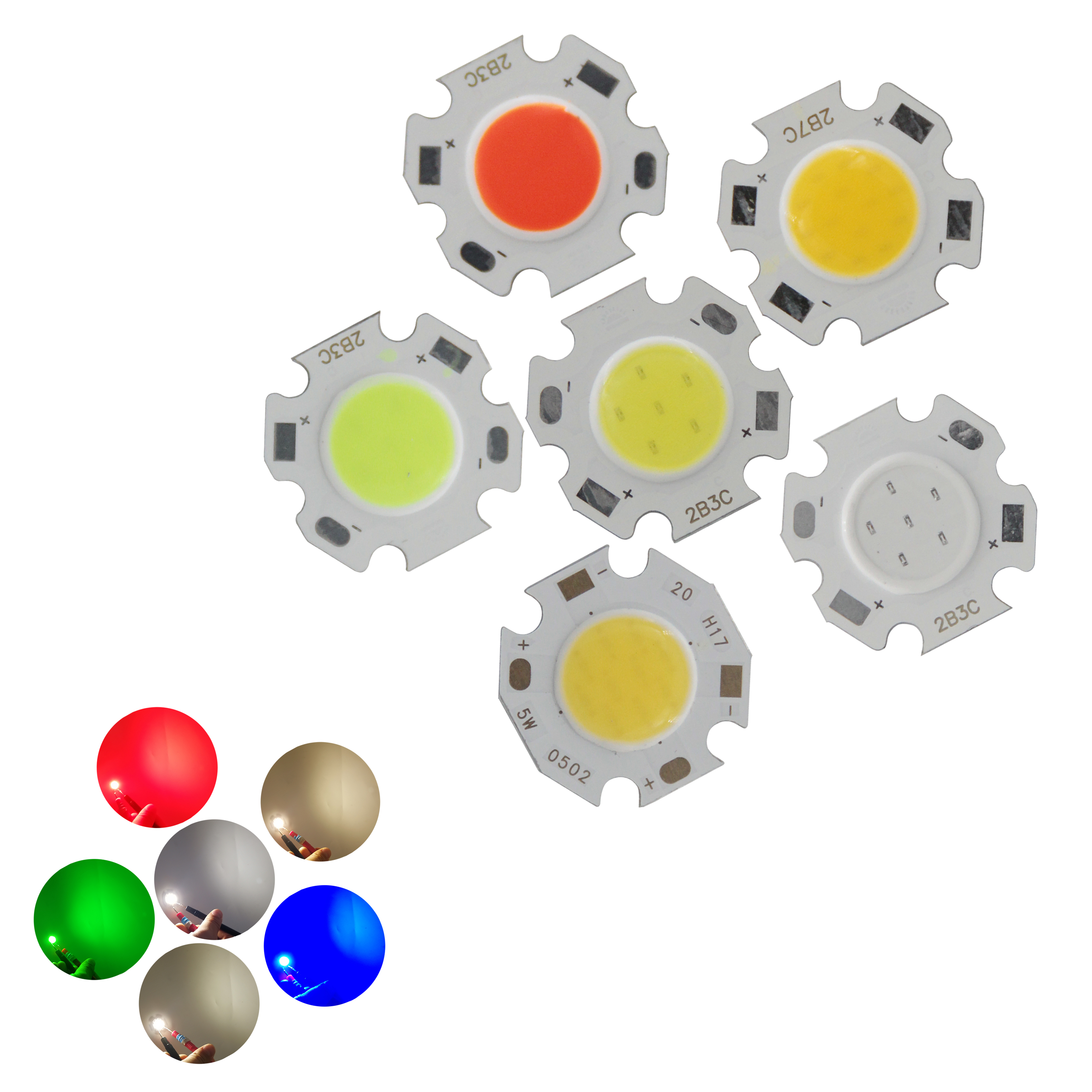Big Promotion 20mm 11mm Round LED COB Light Source Module 3W 5W 7W Warm Nature White R G B COB Bulb Flip Chips For Spot Light