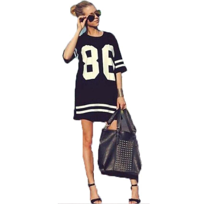 Summer Fashion Short Sleeve T-Shirt Dress Hip Hop 86 Number Printed Casual Loose Baseball Tee Shirt Femme Jersey Dress Hispter