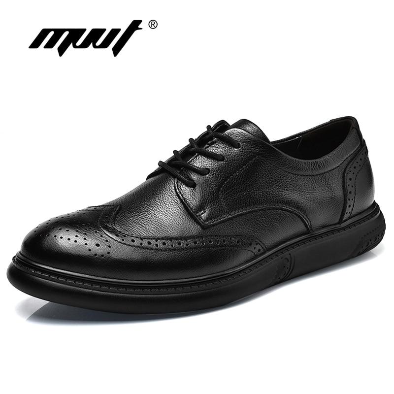 2019 British Style Genuine Leather Shoes Men Dress Shoes Leather Men Oxfords Formal Shoes Fashion Black