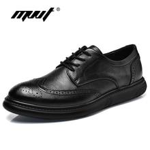 2019 British Style Genuine Leather Shoes Men Dress Shoes Leather Men Oxfords Formal Shoes Fashion Black Wedding shoes Plus Size стоимость