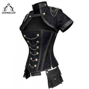 Image 5 - TOPMELON Steampunk Corset Gothic Steel Boned Flora Punk Bustiers Women Cut Out Chains Buttons Corselet Short Sleeve Bustier Tops