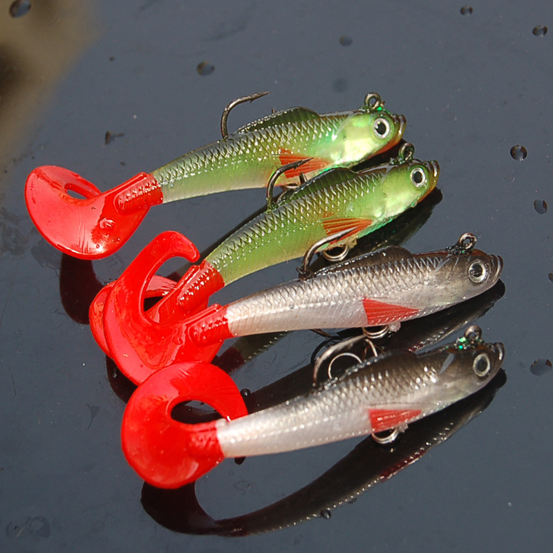 Image 2 - 2017 New 1Pcs Soft Fishing Lure Lead Head Hook Jig Fish Single Tail Bait Pesca Isca Artificial Fishing Tackle Wobblers 90mm 9.6g-in Fishing Lures from Sports & Entertainment