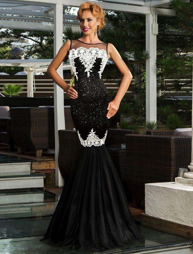 R80196 Elegant Vestido Maxi Dress Sequins Appliques Evening With ...