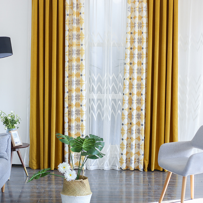 New Geometirc Two Colors Stitching Blackout Flax Curtains For Living Room Modern High-Quality Window Bedroom Blackout Curtain(China)