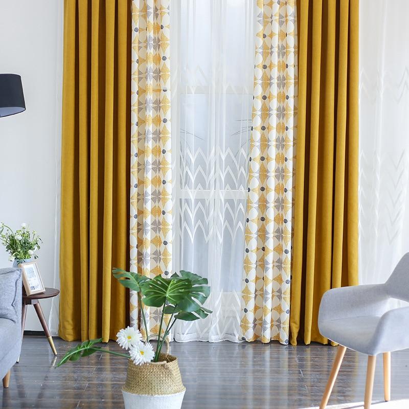 Nova Geometirc Duas Cores Costura Linho Apagão Quarto Janela Cortina Blackout Cortinas para Sala de estar Moderna de Alta Qualidade