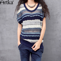 ARTKA Women's Summer All match Batwing Sleeve Silm Cutting Pullover Perforated Blue Stripes Two sides Wear Knitwear YB13738X