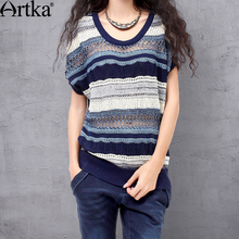 ARTKA Women's Summer All-match Batwing Sleeve Silm Cutting Pullover Perforated Blue Stripes Two-sides Wear Knitwear YB13738X