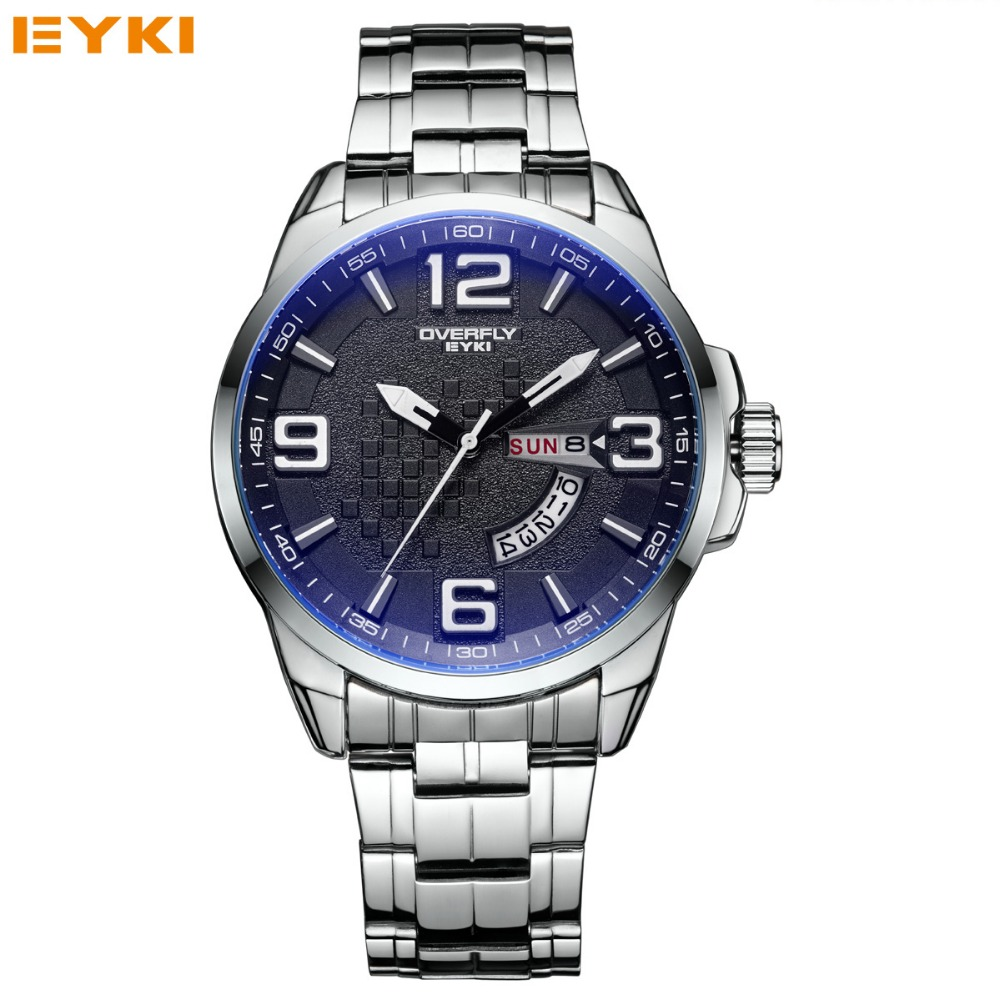 EYKI Brand Stainless Steel Watch Men Business Quartz Watch Luminous Wristwatch Male Military Watch Waterproof Clock reloj hombre eyki top brand men watches casual quartz wrist watches business stainless steel wristwatch for men and women male reloj clock