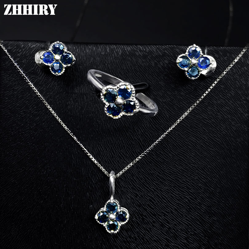 ZHHIRY Women Jewelry Sets Natural Sapphire Gem Stone Genuine 925 Sterling Silver Ring Earring Pendant Chain wholesale price 16new ^^^^ewellery green stone inlay zircon earring pendant ring sets