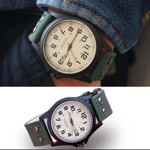 New Hot sale Mens Fashion Sport Watches Men Military Leather Band High quality Quartz Wrist Watch green color
