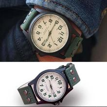 купить 2017 New Hot sale Mens Fashion Sport Watches Men Military Leather Band High quality Quartz Wrist Watch green color Free shipping по цене 63.36 рублей